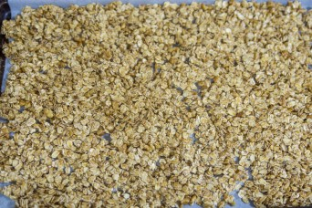 سو الشوفان أو الجرانولا بصفيحة الخَبز المجهزة